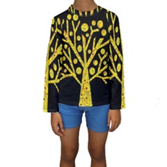 Yellow magical tree Kids  Long Sleeve Swimwear by Valentinaart