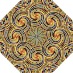 Gold Blue And Red Swirl Pattern Folding Umbrellas by theunrulyartist