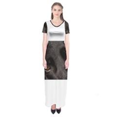 Black German Shepherd Eyes Short Sleeve Maxi Dress by TailWags