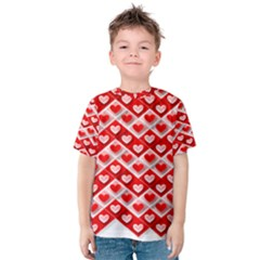 Love Hearts Valentine S Day Pink Kids  Cotton Tee by Zeze