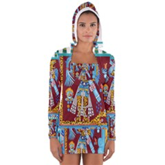 Mexico Puebla Mural Ethnic Aztec Women s Long Sleeve Hooded T-shirt by Zeze