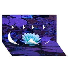 Lotus Flower Magical Colors Purple Blue Turquoise Twin Hearts 3d Greeting Card (8x4) by yoursparklingshop