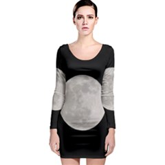 Full Moon At Night Long Sleeve Bodycon Dress by picsaspassion