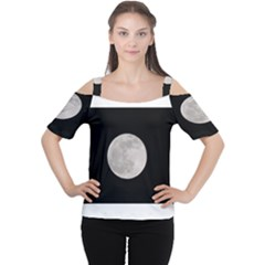 Full Moon At Night Women s Cutout Shoulder Tee by picsaspassion