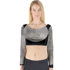 Close To The Full Moon Long Sleeve Crop Top by picsaspassion