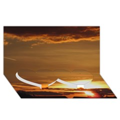 Summer Sunset Twin Heart Bottom 3d Greeting Card (8x4) by picsaspassion