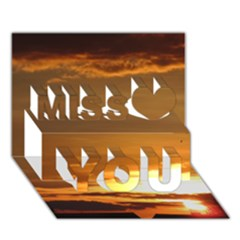 Summer Sunset Miss You 3d Greeting Card (7x5) by picsaspassion