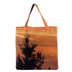 Christmas Tree And Sunset Grocery Tote Bag by picsaspassion