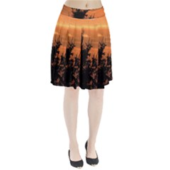 Christmas tree and sunset Pleated Skirt by picsaspassion