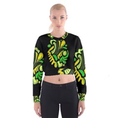 Yellow and green spot Women s Cropped Sweatshirt by Valentinaart