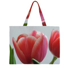 Red - White Tulip flower Large Tote Bag by picsaspassion