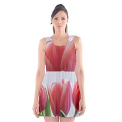 Red Tulips Scoop Neck Skater Dress by picsaspassion