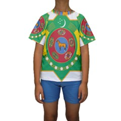 National Emblem of Turkmenistan  Kids  Short Sleeve Swimwear by abbeyz71
