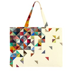 Retro Pattern Of Geometric Shapes Large Tote Bag by Zeze