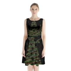 Xmas tree 2 Sleeveless Chiffon Waist Tie Dress by Valentinaart