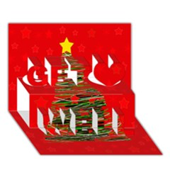 Xmas tree 3 Get Well 3D Greeting Card (7x5) by Valentinaart