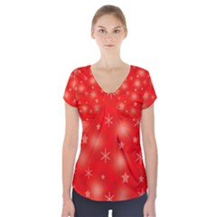 Red Xmas desing Short Sleeve Front Detail Top by Valentinaart