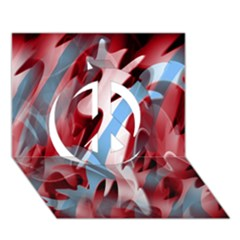 Blue And Red Smoke Peace Sign 3d Greeting Card (7x5) by Valentinaart