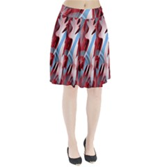 Blue and red smoke Pleated Skirt by Valentinaart