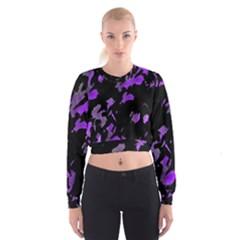 Painter Was Here   Purple Women s Cropped Sweatshirt by Valentinaart
