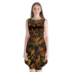 Abstract Autumn  Sleeveless Chiffon Dress