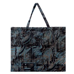 Blue Town Zipper Large Tote Bag by Valentinaart