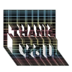 Neon Plaid Design Thank You 3d Greeting Card (7x5) by Valentinaart