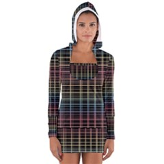Neon plaid design Women s Long Sleeve Hooded T-shirt by Valentinaart