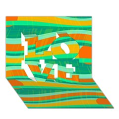 Green And Orange Decorative Design Love 3d Greeting Card (7x5) by Valentinaart