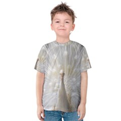 3d White Peacock Feather Kids  Cotton Tee by Zeze
