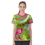 Green Organic Abstract Women s Sport Mesh Tee