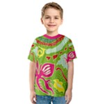 Green Organic Abstract Kids  Sport Mesh Tee
