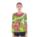 Green Organic Abstract Women s Long Sleeve Tee