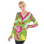 Green Organic Abstract Women s Tie Up Tee