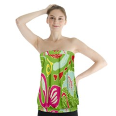 Green Organic Abstract Strapless Top by DanaeStudio