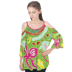 Green Organic Abstract Flutter Sleeve Tee  by DanaeStudio