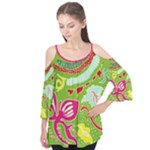 Green Organic Abstract Flutter Sleeve Tee