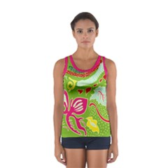 Green Organic Abstract Women s Sport Tank Top  by DanaeStudio