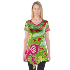 Green Organic Abstract Short Sleeve Tunic  by DanaeStudio