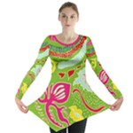 Green Organic Abstract Long Sleeve Tunic