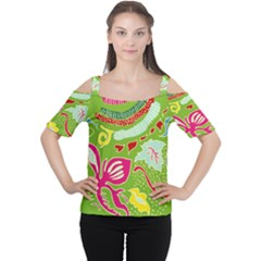 Green Organic Abstract Women s Cutout Shoulder Tee by DanaeStudio
