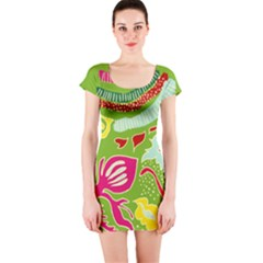 Green Organic Abstract Short Sleeve Bodycon Dress by DanaeStudio