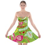 Green Organic Abstract Strapless Bra Top Dress