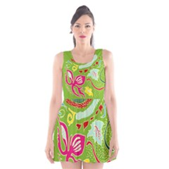 Green Organic Abstract Scoop Neck Skater Dress by DanaeStudio