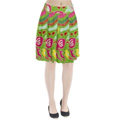 Green Organic Abstract Pleated Skirt by DanaeStudio