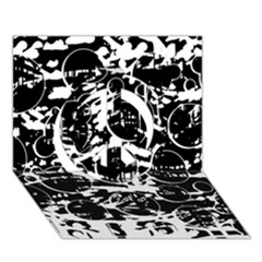 Black And White Confusion Peace Sign 3d Greeting Card (7x5) by Valentinaart