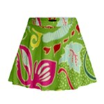 Green Organic Abstract Mini Flare Skirt