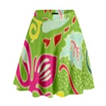 Green Organic Abstract High Waist Skirt