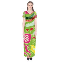 Green Organic Abstract Short Sleeve Maxi Dress by DanaeStudio