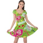 Green Organic Abstract Cap Sleeve Dress